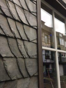 Slate stone siding on many buildings