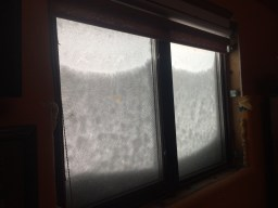 North facing window during storm