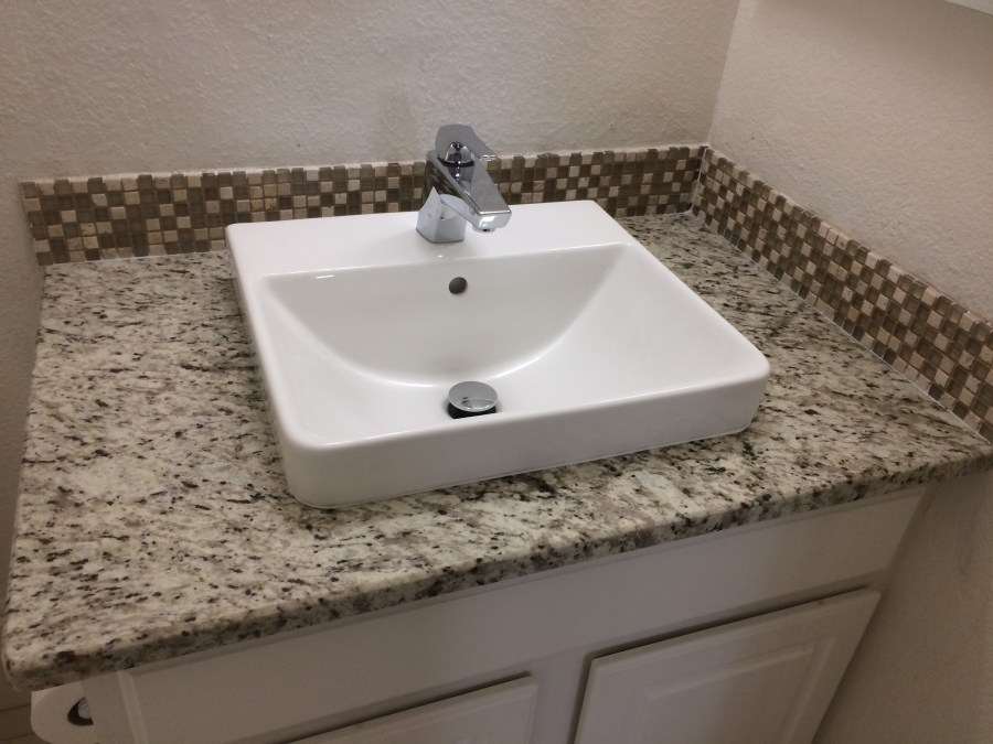 Basement bath granite, sink and faucet
