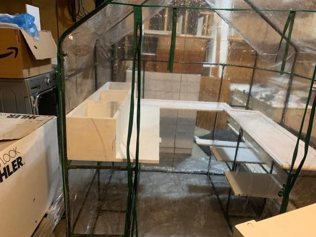 Loading shelves in greenhouse