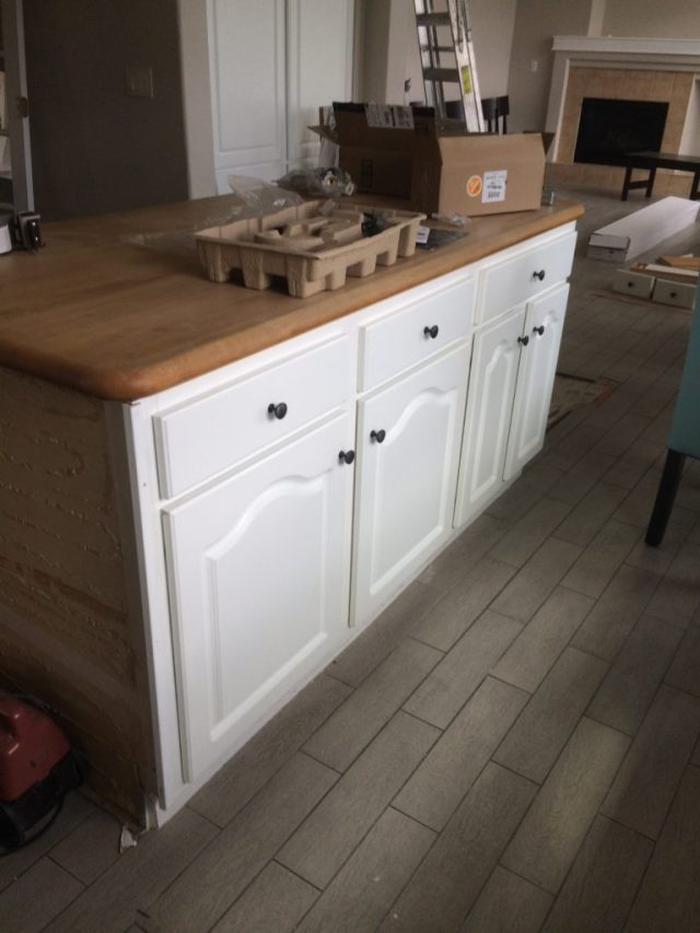 Shortened island with butcher block top