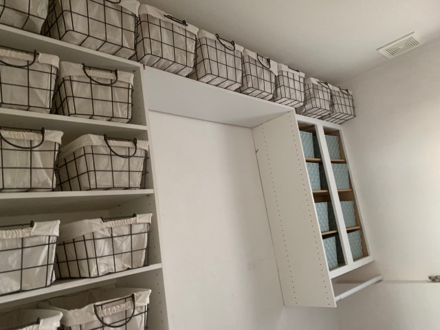 Mud room shelves