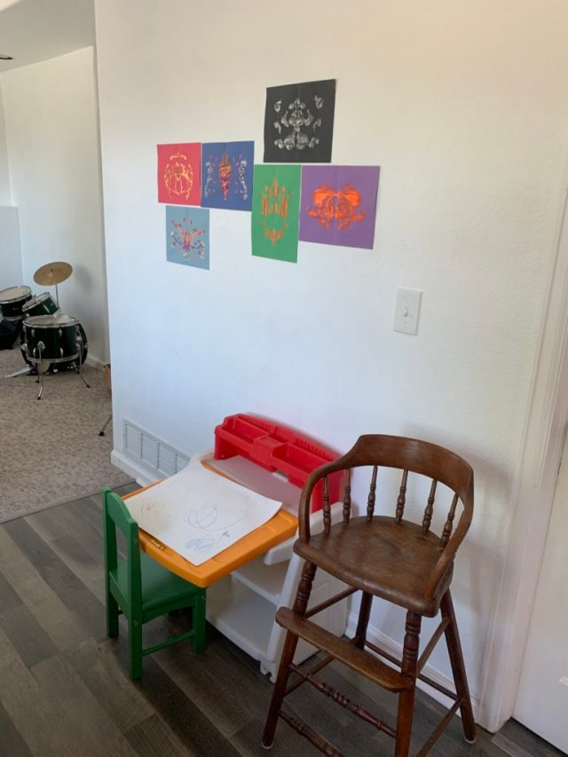 Child easel and artwork