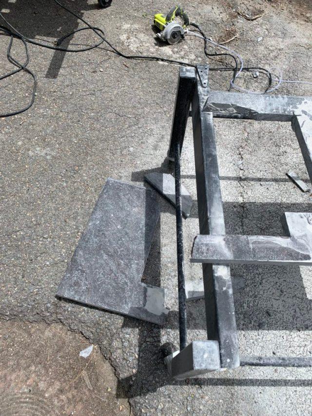 I broke the granite!