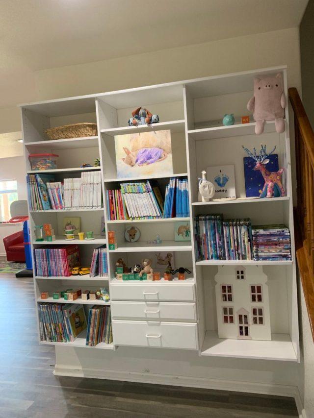 Kids playroom shelves