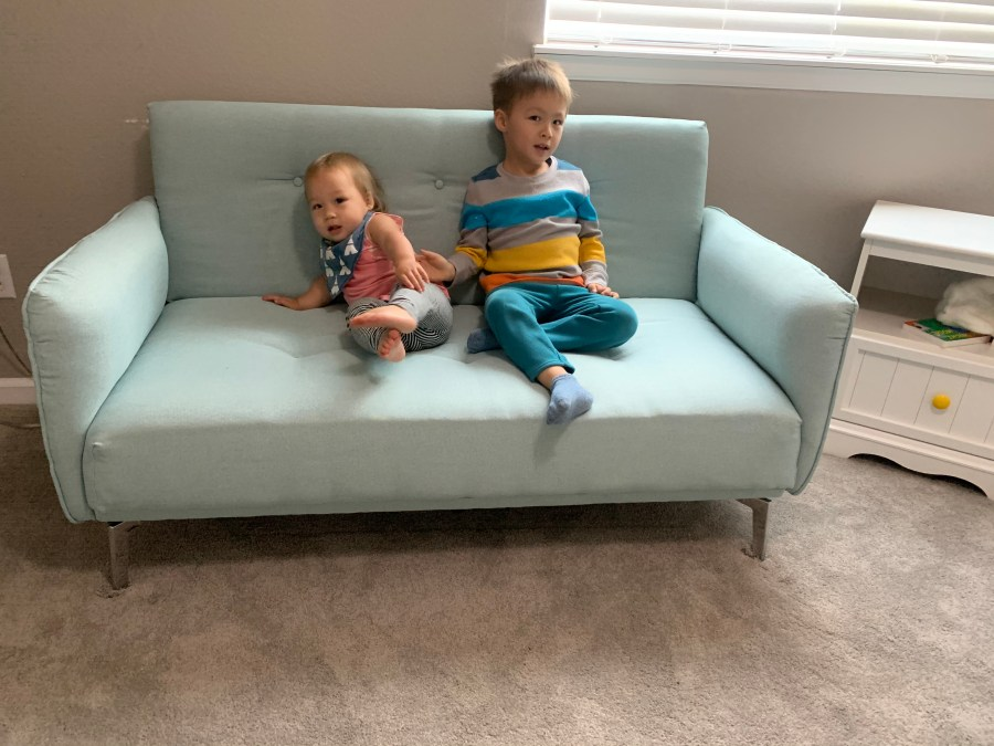 Finished loveseat in room