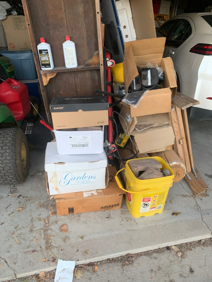 Stack of boxes of faux stone