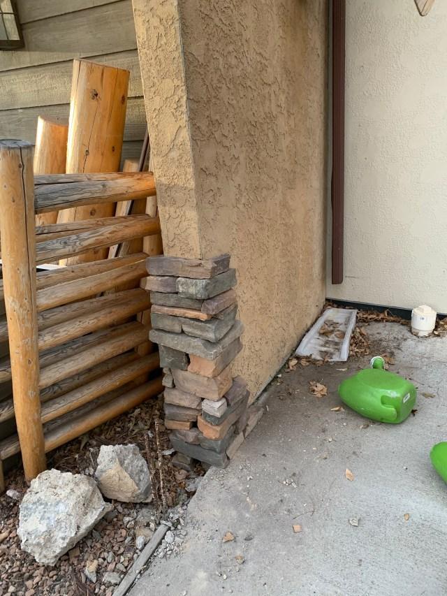 Dry laid stone corner