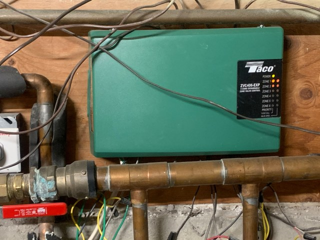 Taco zone controller showing call for heat in zone 1