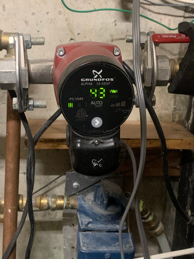 Secondary pump shows watts used