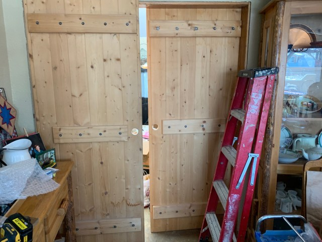 Doors leaning in place