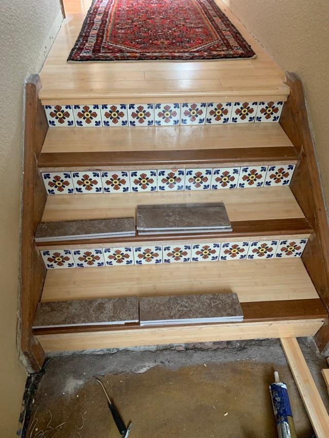 Dark bamboo stair edges