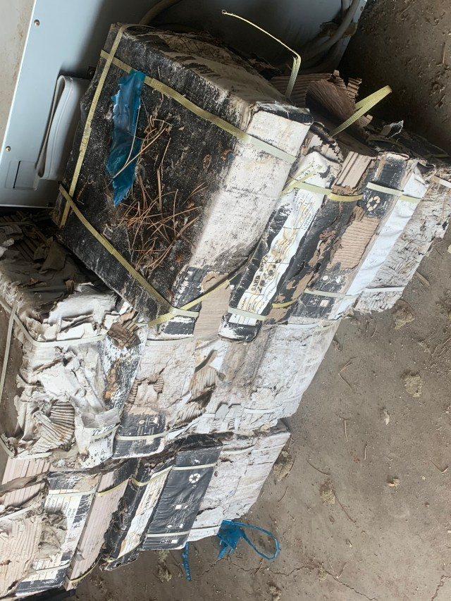 Dirty boxes of tile