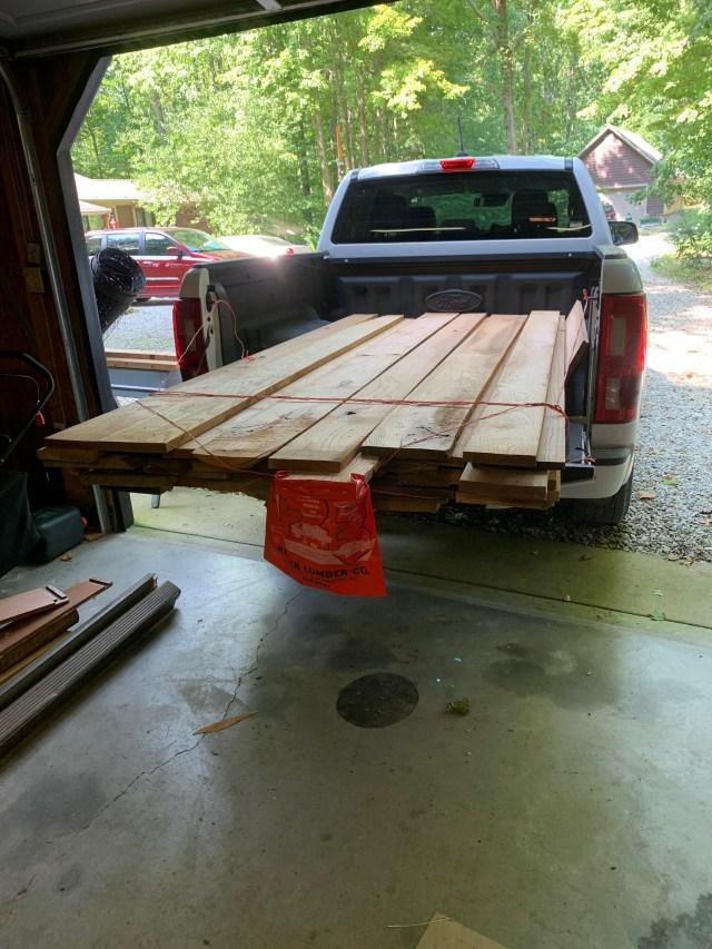 Truckload of oak boards