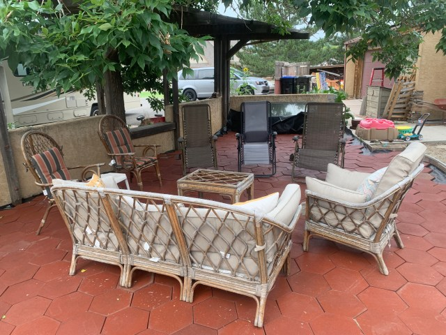 Patio set up for guests