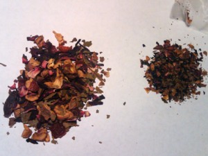 Alpine Berry Herbal Tea — big pieces on the left, and what came out of a current sachet on the right.