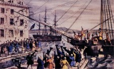 """The famous 1846 lithograph by Nathaniel Currier, """"The Destruction of Tea at Boston Harbor."""""""