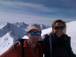 Richard and Bess at the top of the Highland Bowl — two leaves' next staff meeting location, perhaps?