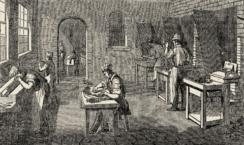 View of the Figgins Type Foundry c.1833.