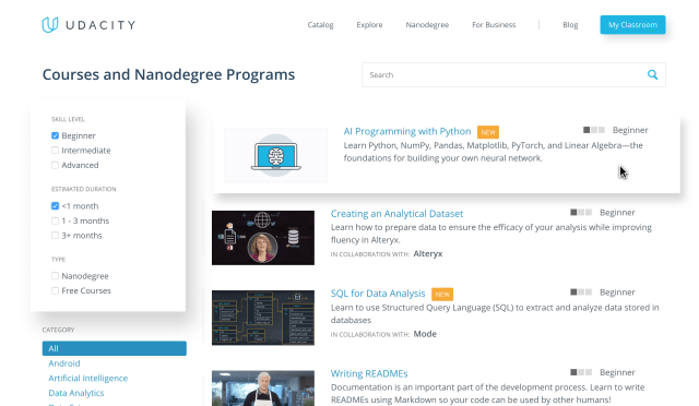 Udacity - Catalog - Learning Path