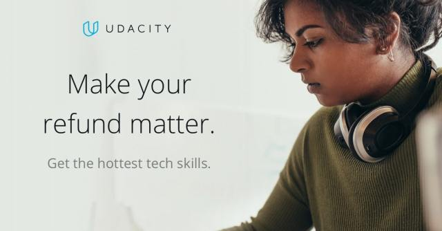 Female programmer learning in-demand skills with Udacity