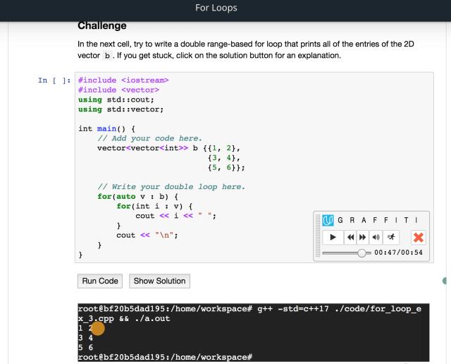 Jupyter Notebook Graffiti programming mini terminal example
