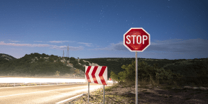 Header image showing a stop sign