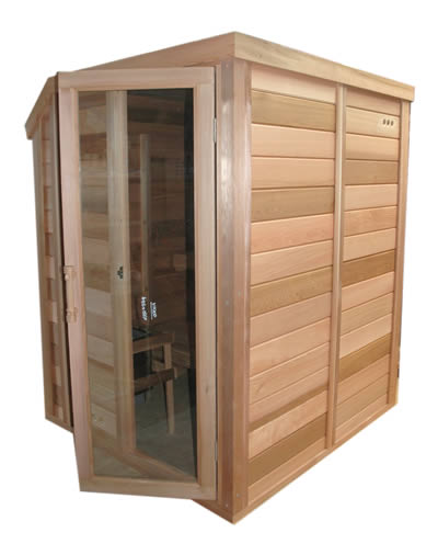 Front view of the sauna
