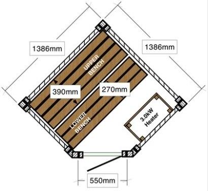 Corner Log Sauna 1.3 x 1.3m