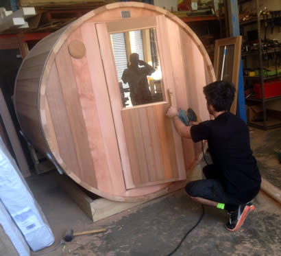 Half glass half timber sauna door