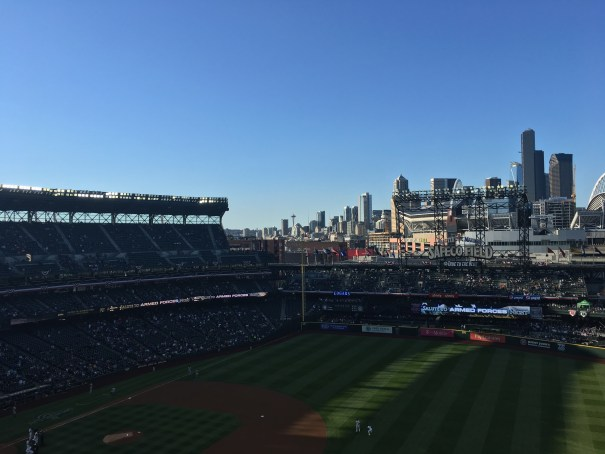 The view of the Space Needle and Downtown Seattle from Section 318 of Safeco Field.