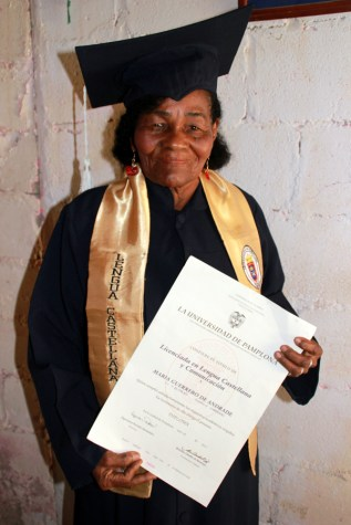 Maria with her BA degree in Spanish and Communications.