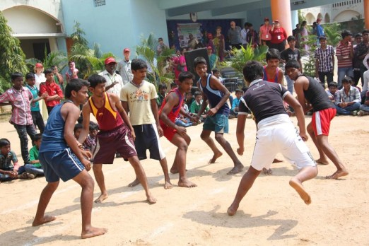 On a 2012 awareness trip to India, staffers, sponsors and CFCA scholars enjoy a spirited game of Kabaddi.
