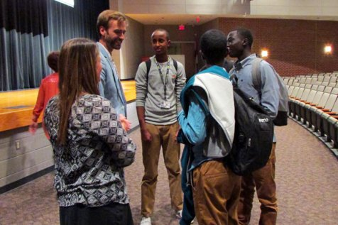 """: Barclay Martin speaks with high school teacher Gail Martin and a group of her students about the documentary """"Rise and Dream."""""""