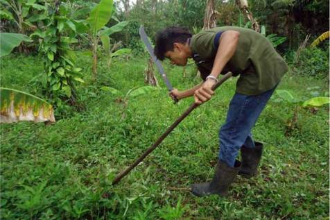Moisés does a variety of jobs, such as cutting grass, to earn money to help support his family.