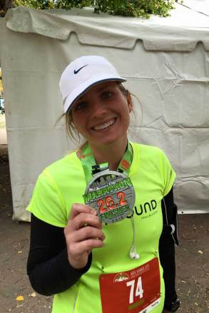 Becky Findley after completing the 2015 Kansas City Marathon as an Unbound Trailblazer.