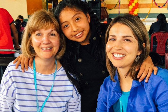 Joanna and her mom, Cathy, meet Cathy's sponsored friend Wendy in Guatemala.
