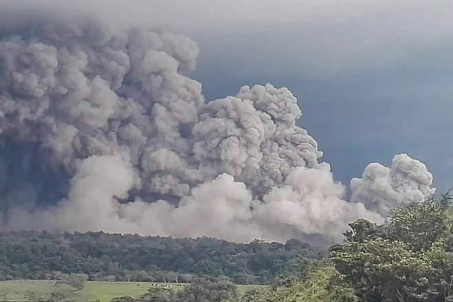 Ash clouds from the eruption of Guatemala's Fuego volcano threaten farmland.