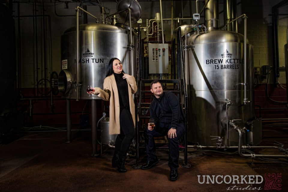 Neshaminy Creek Brewing Company Engagement Session among the brewing equipment