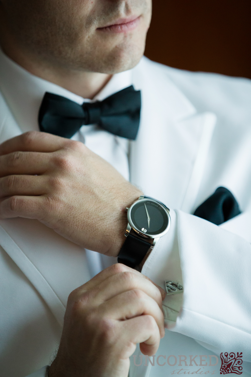 Movado watch and superman cufflinks with white dinner jacket
