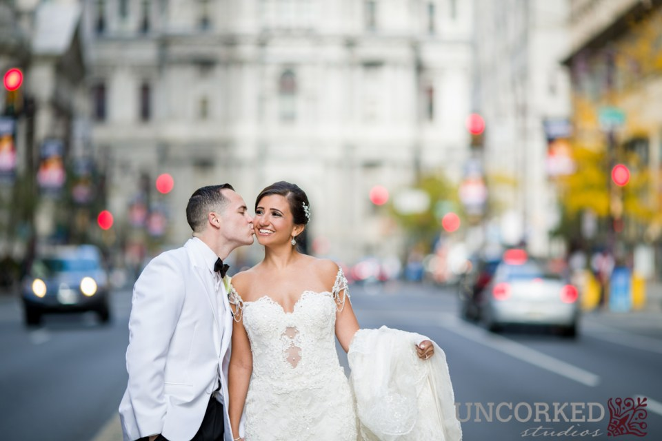 Stopping traffic in Philadelphia for a wedding kiss