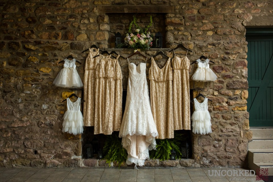 Maggie Sottero and Sorella Vita Gowns in the Old Barn at HollyHedge Estate.