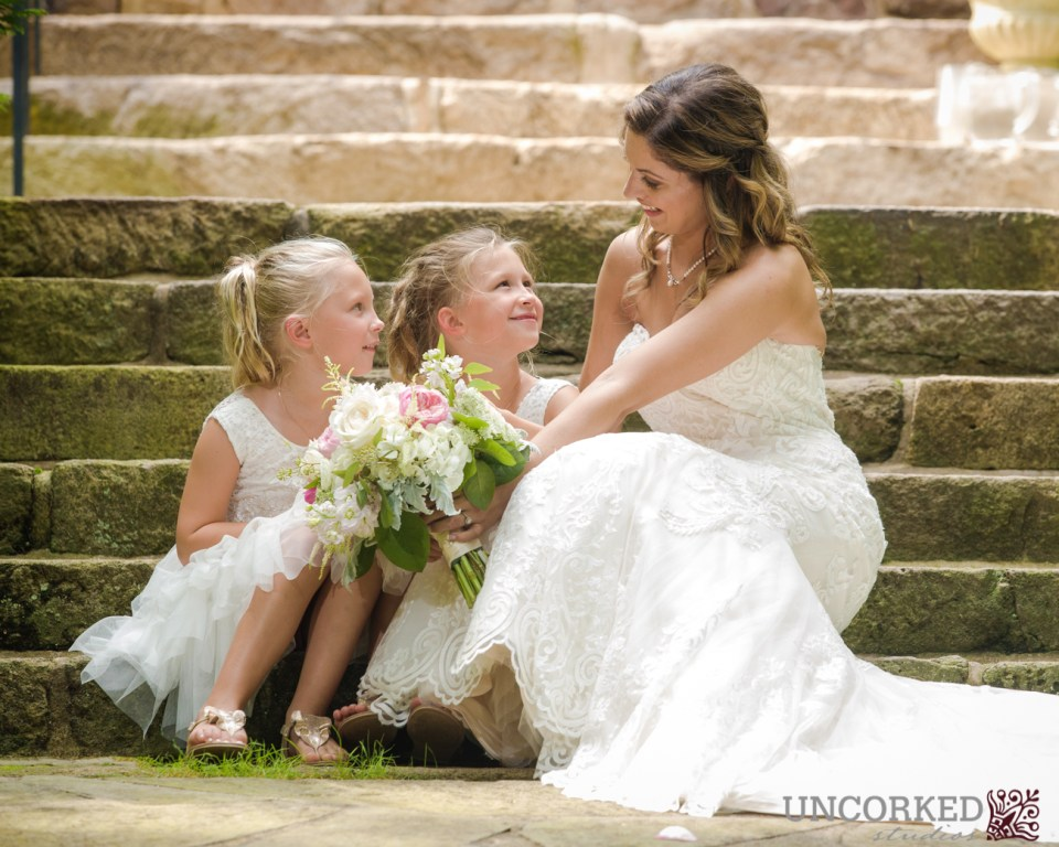 Bride and flower girls at HollyHedge