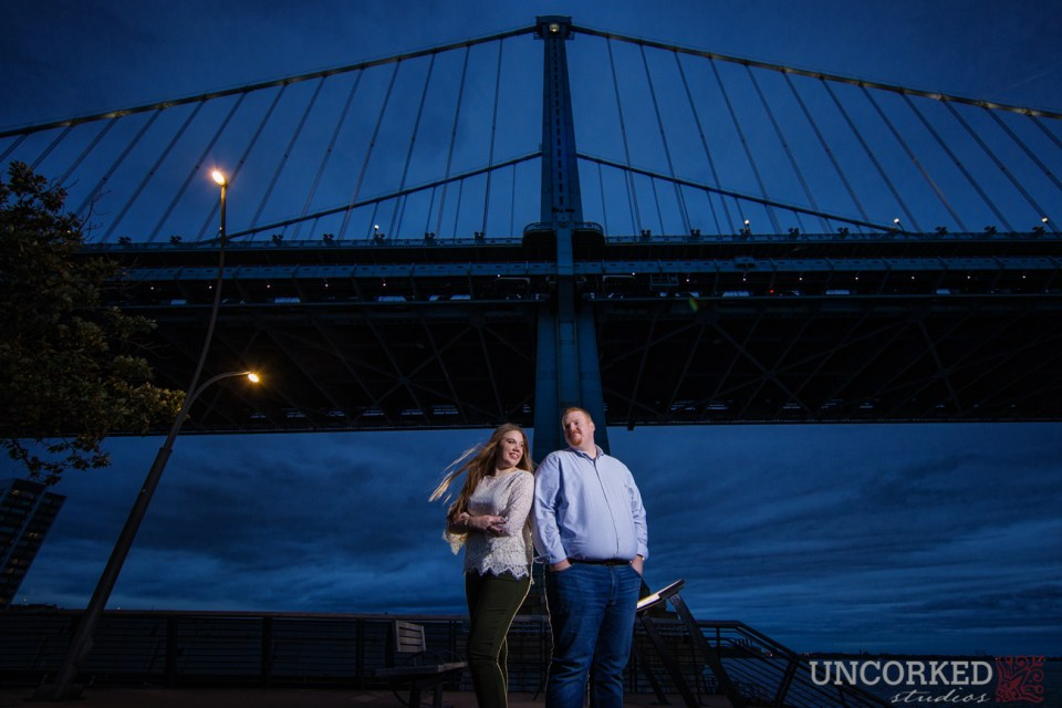 Race Street Pier hero shoot at night with Ben Franklin Bridge