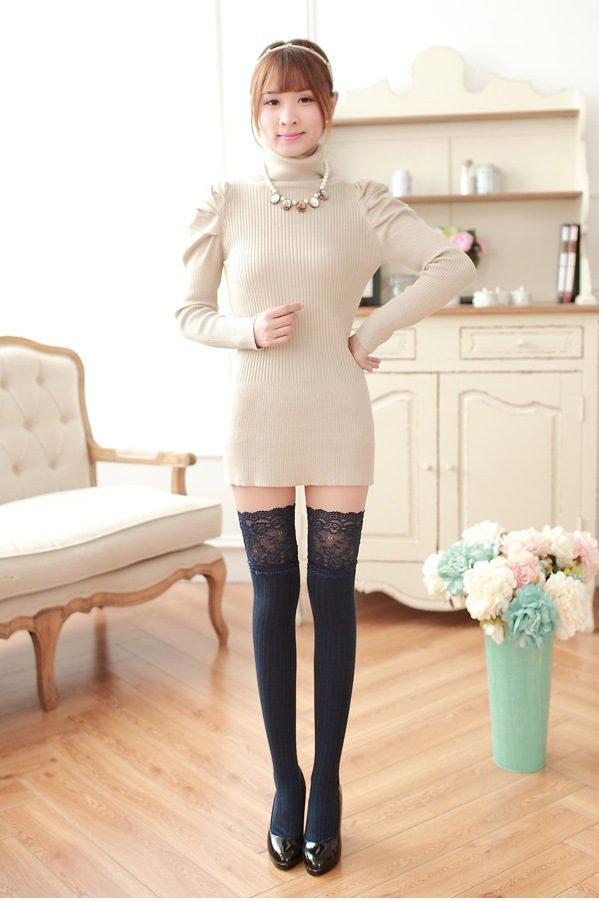 Knee high socks cotton lolita