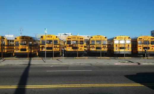 Yellow school bus fleet