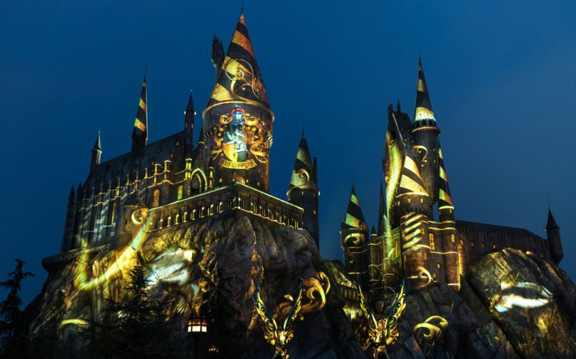 The Nighttime Lights at Hogwarts Castle - Hufflepuff House