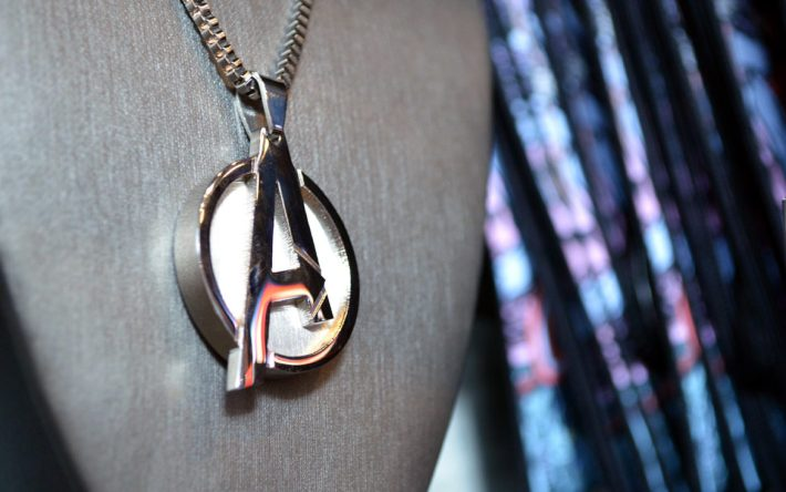 Avengers necklace on stand