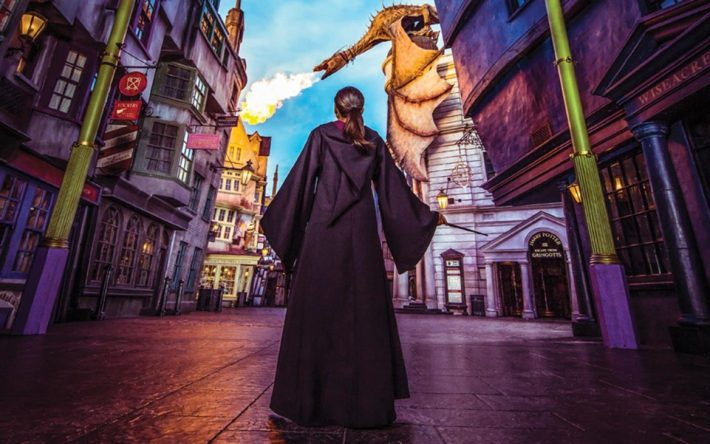 girl diagon alley at wizarding world of harry potter Universal orlando resort