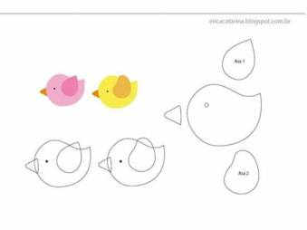contoh pola flanel burung imut